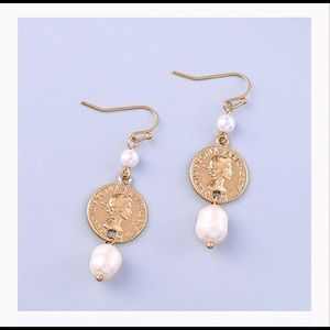 ⭐️FABULOUS FAUX GOLD COIN AND PEARL DROP EARRINGS